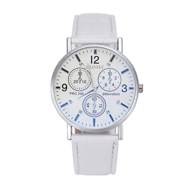 Fashion men's leather watch 2019 simple digital engraved holiday three-eye white dial quartz wrist watch montre homme a6