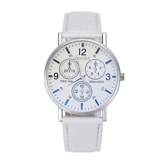 Reloj de cuero de moda para hombre 2019 simple digital grabado vacaciones tres ojos esfera blanca cuarzo reloj de pulsera montre homme a6