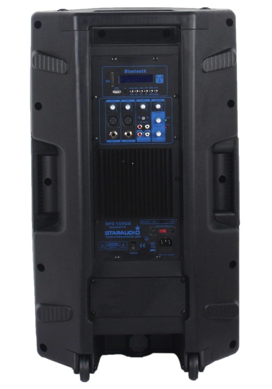 STARAUDIO 15 3500W PA DJ Stage Powered Active Karaoke USB SD BT Speaker with Stand 2CH UHF Wireless Handheld Mic SPS-15RGB