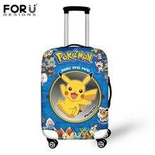 FORUDESIGNS Travel Luggage Cover Designer Anime Pokemon Pikachu Prints Protective Dustproof Suitcase Elastic