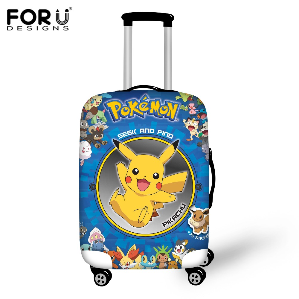FORUDESIGNS Travel Luggage Cover Designer Anime Pokemon Pikachu Prints Luggage Protective Cover Dustproof Suitcase Cover Elastic