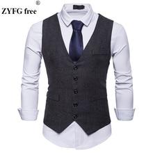 Spring New Dress vest Mens Fashion solid Suit Vest Goods Cotton High-end Business Casual suit vests large size