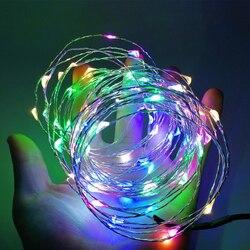 Светодиодная гирлянда, 5/10 м, с питанием от USB, медная проволока, водонепроницаемая, RGB, Рождественское украшение для дома