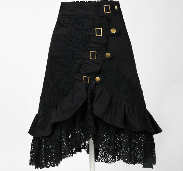 ecdd19df0b612 hippie boho clothing metal retro designs uk style online store a line gypsy  skirt vampire cotton lace black midi skirts