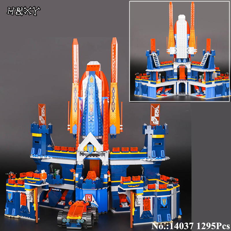 H&HXY 14037 1295pcs Knights Knighton Castle Model lepin Building Blocks Assemble Bricks Children Toy Games Nexus Compatible 7035 цена и фото