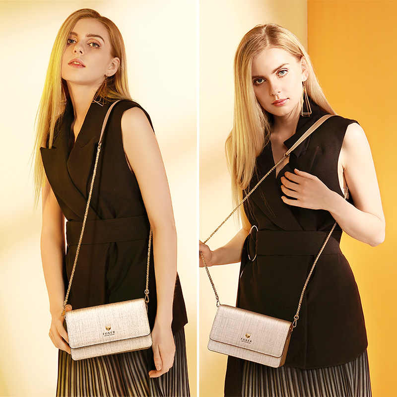 FOXER Brand Female Stylish Small Flap Shoulder Bag Women Bag Split Leather Chic Messenger Bags & Crossbody Bags Fashion Design
