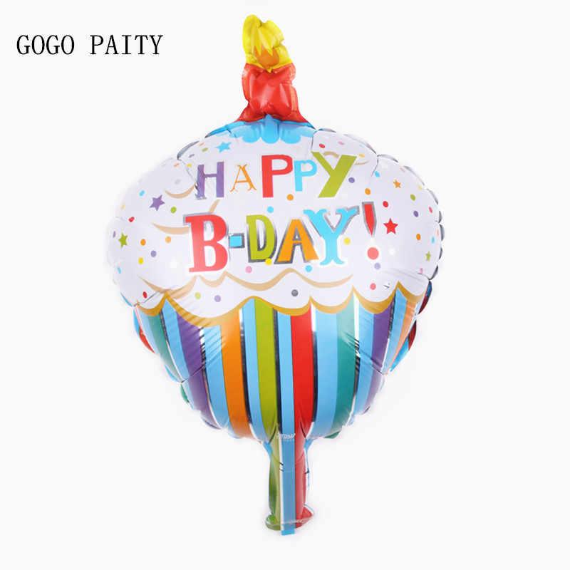 Gogo paity mini aniversário feliz bolo de estanho folha balão pequeno bolo de alumínio bolo de aniversário do bebê