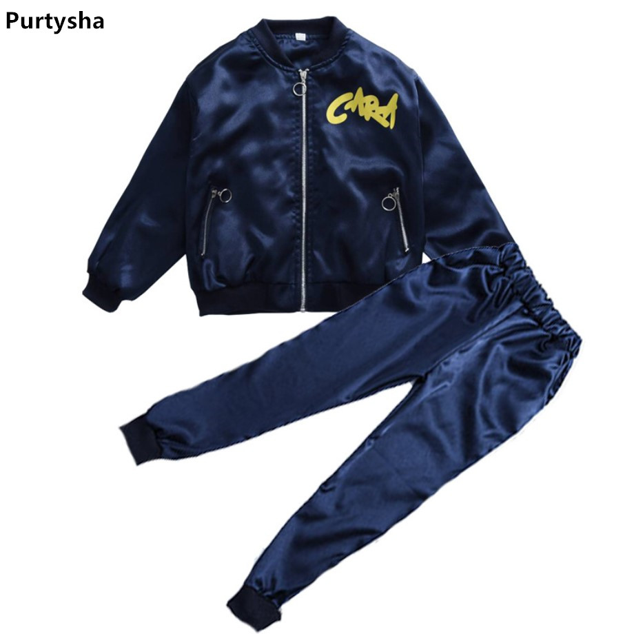Children Clothing 2018 Spring Autumn Batwing Sleeve Tops Two piece Set Sport Suits Striped Tracksuit Blue Kids Teens Clothes kids boys autumn clothing set new children spring and autumn leisure sport long sleeved two piece 5 8 10 12 age kids coat pants