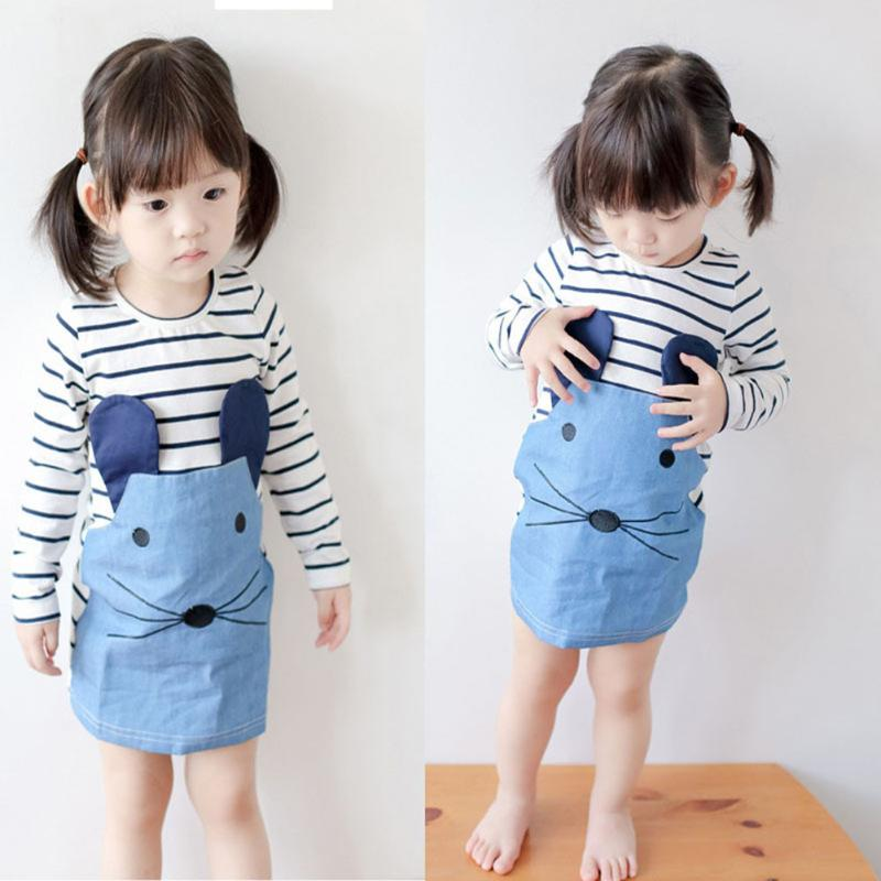 Baby Girl Dresses Striped Patchwork Character Long Sleeve Cute Mouse Children Clothing Kids Girls Dress Denim Kids Clothes 2pcs clothes set baby boy girl dinosaur character short sleeve top striped shorts outfits children clothing