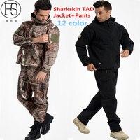 Softshell TAD Taktik Setleri Erkekler Açık Yürüyüş Giysi Askeri Avcılık Kamuflaj Suit Kamp Su Geçirmez Kapüşonlu Ceket + Pantolon