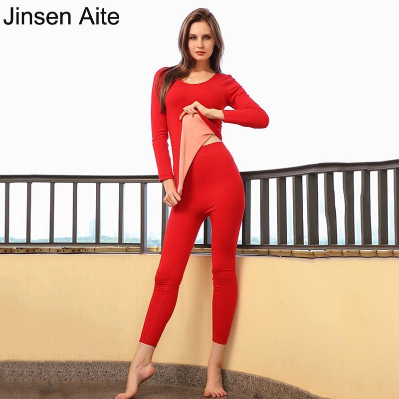 Jinsen Aite High Quality Winter 2019 New Women Thermal Underwear Sets Plus Fleece Female Shirt+Pants Thick Warm Long Johns JS652