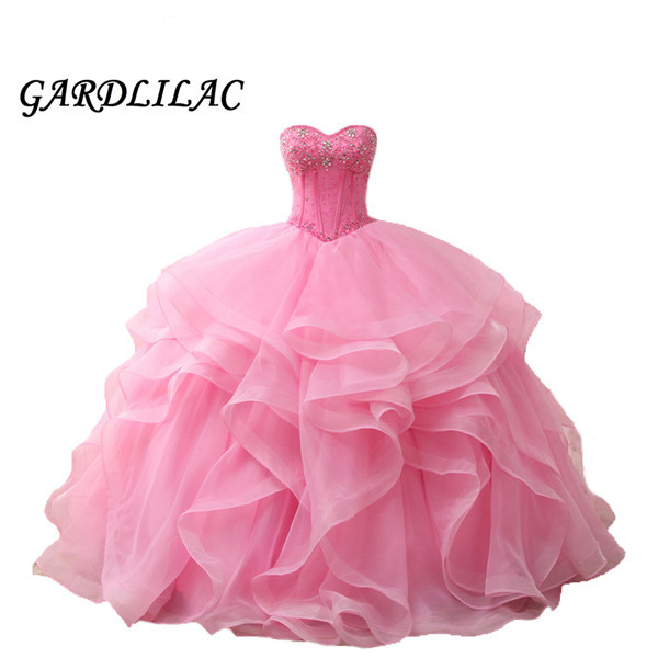Hot Pink Ball Gown Quinceanera Dresses 2019 Vestido de debutante Prom Dress vestidos de 15 anos Beaded sweet 16 Ruffles