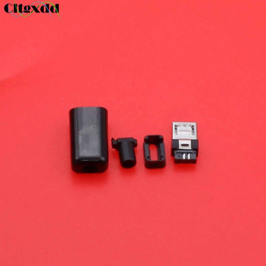 Cltgxdd diy مايكرو usb جاك المقبس واجهة موصل نوع b ذكر التوصيل 5 دبوس أربعة قطعة التجمع ، أسود غطاء بلاستيكي