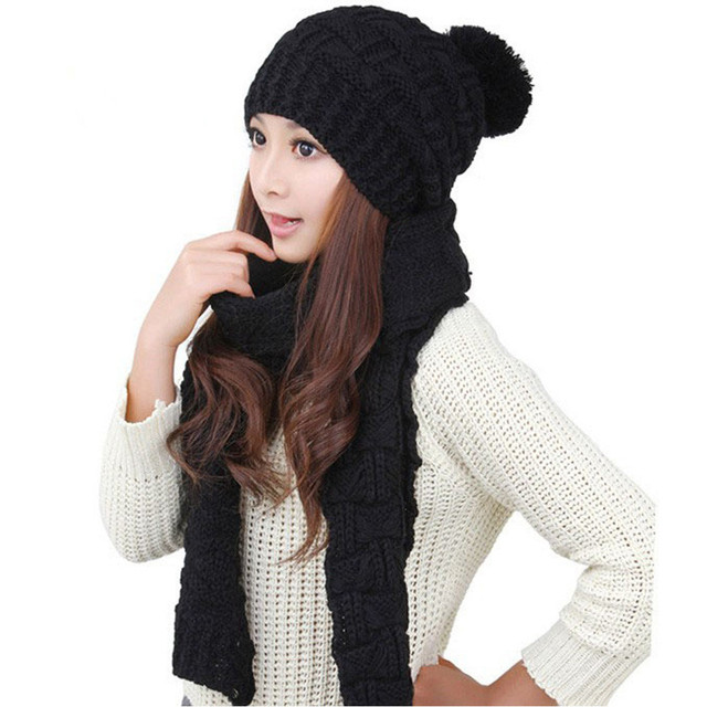1Set Fashion Autumn Winter Hats Scarf Knit Crochet Beanies Cap Hats For Women Warm Scarf And Hat Knitted Hat Bonnet Warm Beanie
