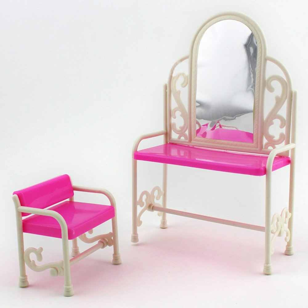 Girls Dressing Table Fashion Dressing Table And Chair Set For Dolls Bedroom Plastic Drsser Furniture For Dolls Girls Kids Gift Children Zk15