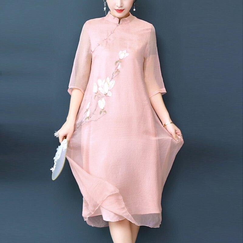 Mode coréenne femmes petite fleur en mousseline de soie robe d'été femmes col montant Vintage robe imprimée longues robes en mousseline de soie