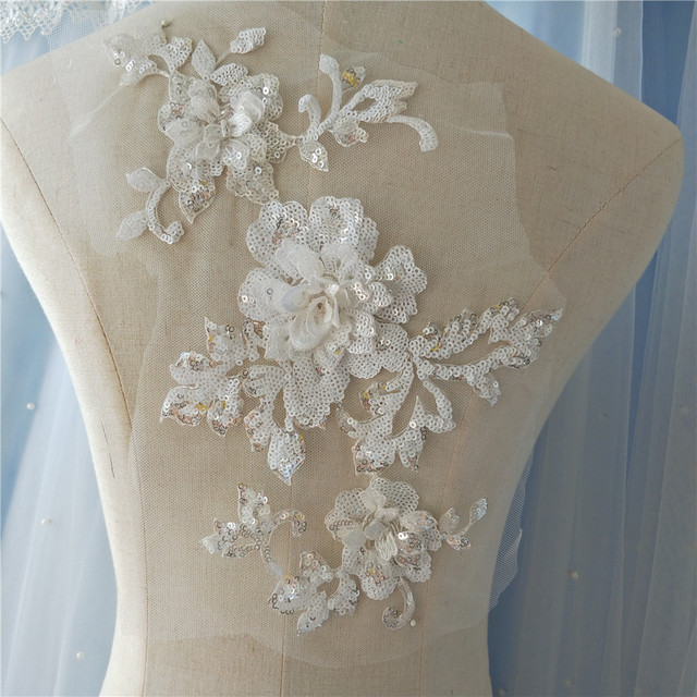 Off White 3D Sequin Beaded Flower Embroidered Lace Applique for ...
