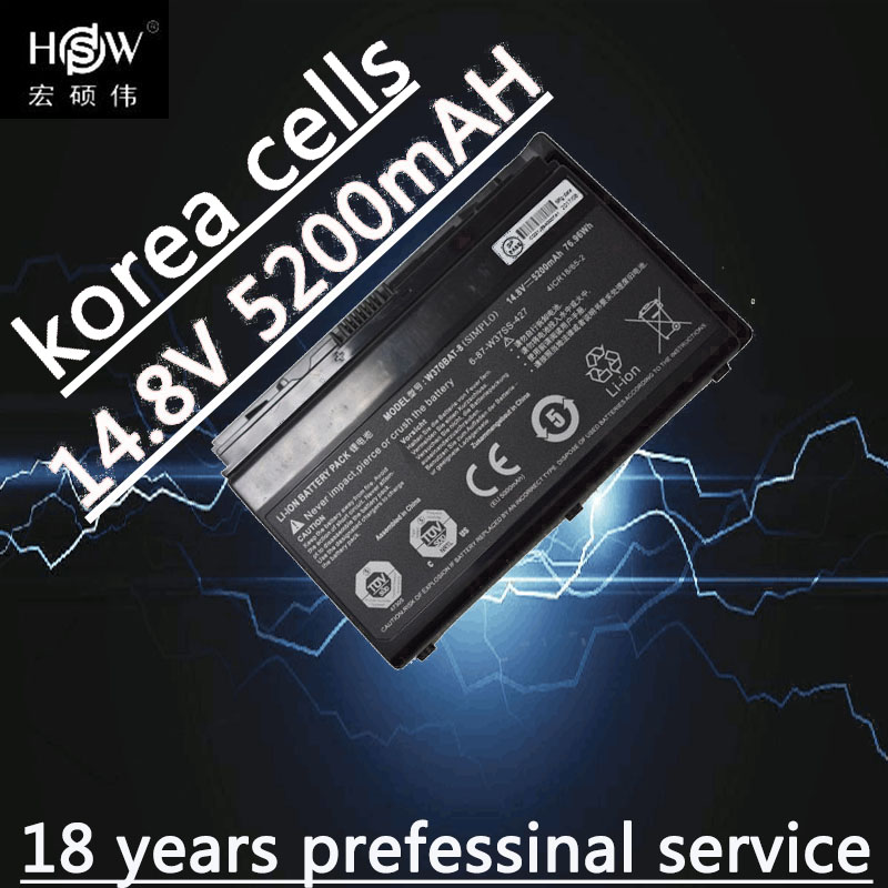 HSW W370bat-8 battery for Clevo W350et W350etq W370et Sager Np6350 Np6370 Schenker Xmg A522 XMG A722 6-87-w370s-4271 original rechargeable clevo w370bat 8 li ion battery 6 87 w370s 4271 6 87 w37ss 427 k590s laptop battery 14 8v 5200mah 76 96wh