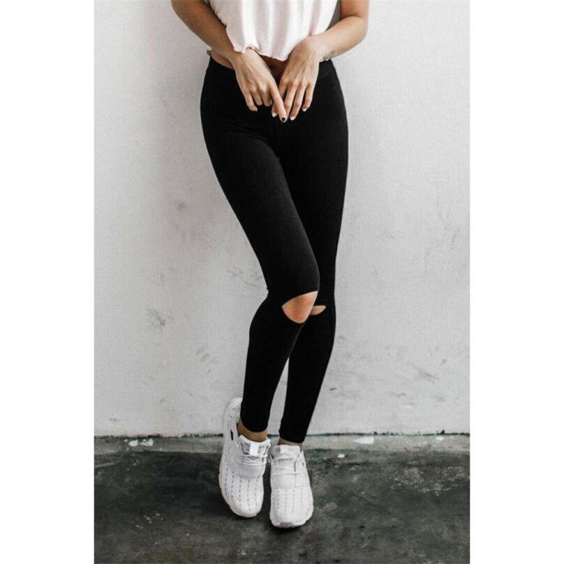 Fitness Legging Women 2017 High Waist Skinny knee Holes Elastic Waist Women Push up Slim Casual Wear Black Leggings #GY30 MY15