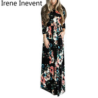Irene Inevent Women Summer Dress 2017 New Fashion Print Maxi Dress Women Casual Elegant Floral Long