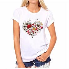 Custom T Shirts Online Premium O-Neck  Flower Heart Short-Sleeve Womens Tee
