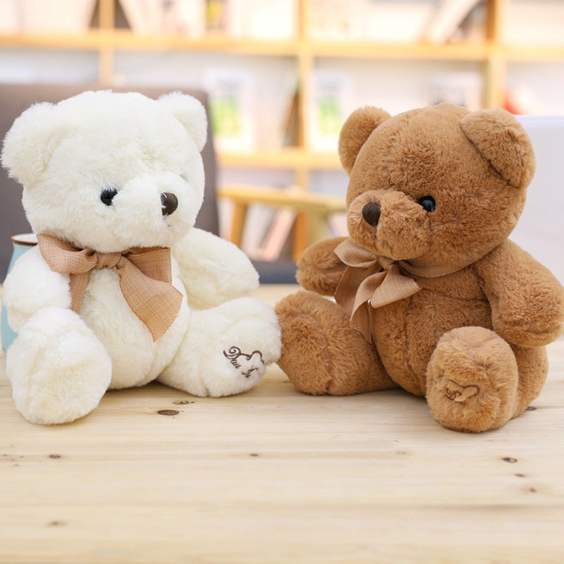 30cm Kawaii Bear Cute Lint Plush Stuffed Doll Tie Bear Soft Animal Children's Birthday Toys(China)