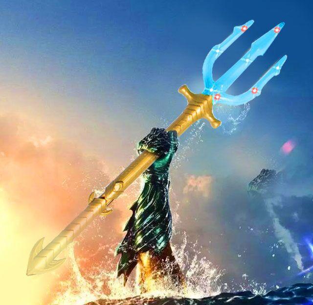 Aquaman trident justice league hero sound-light sword fork weapon accessories children performance play props  party decoration leg extension split machine