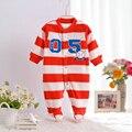 Lana Del Otoño del resorte Nuevo Bebé Mamelucos de La Raya Niños Niñas Manga Larga Pijamas Con Pies de Dibujos Animados Trajes Niños Ropa CL0887