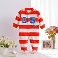 Spring Autumn Fleece New Baby Stripe Rompers Boys Girls Long Sleeve Pajamas With Feet Cartoon Overalls Toddlers Clothes CL0887