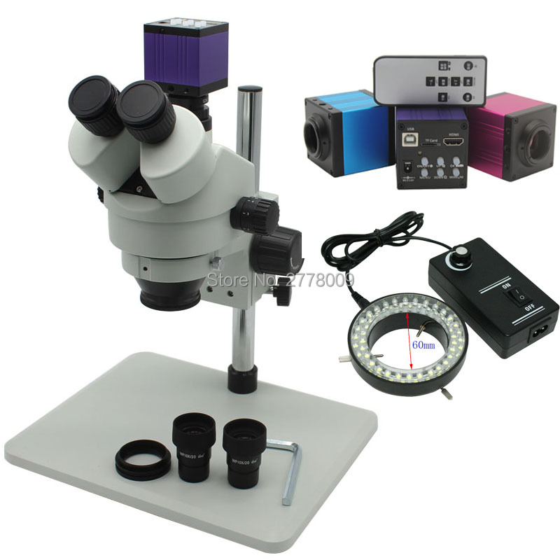 Kontinuierliche Zoom Fernglas Visuelle 3.5X-90X Trinocular Stereo Mikroskop Mit 16MP HDMI USB Kamera Einstellbar Led-leuchten Werkbank
