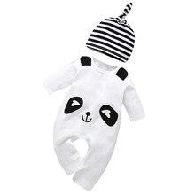 Verano Bebé Ropa lindo estampado animales para bebé niño de dibujos  animados Panda sombrero mono mameluco ropa bebé niña 49b31edfabe