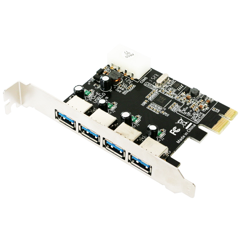 4 port USB 3.0 PCI-e Expansion Card PCI express PCIe USB 3.0 hub adapter 4-port USB3.0 controller USB 3 0 PCI e PCIe express 1x adaptador pci express 4 portas pci express card usb 3 0 placa de expansao adicionar em cartoes com 4 pinos da fontedealimentacao