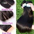 Aliexpress UK 7A Irina tecer beleza indiano virgem do cabelo de seda em linha reta pacotes com top base de encerramento oriente livre 3 de três vias parte