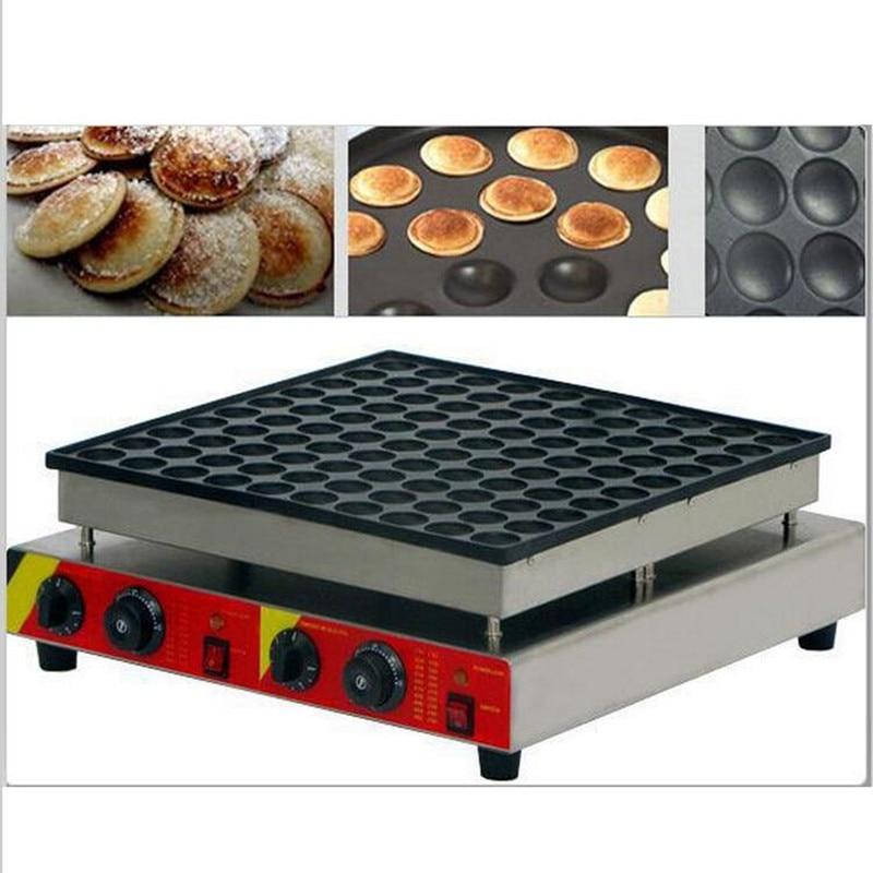 110V/220V Commercial 100pcs Non-stick Dutch Pancake Machine Mini Waffle Poffertjes Maker Machine 100pcs commercial use non stick 110v 220v electric poffertjes mini dutch pancake machine maker iron baker batter dispenser
