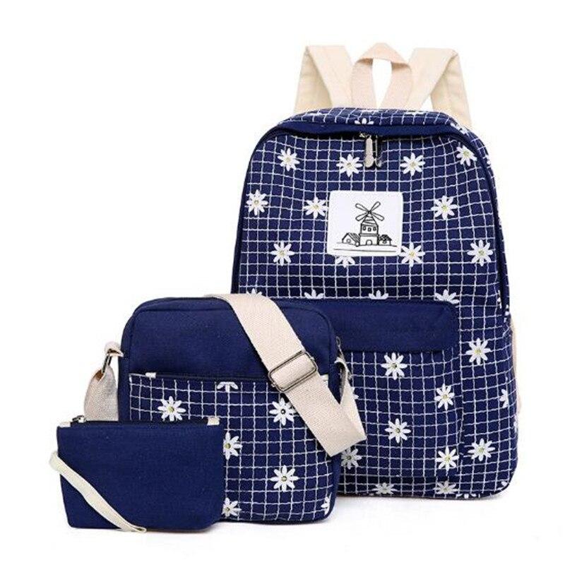 3Pcs Set Backpacks Women Backpack Canvas Cute Printing Preppy Style School Bag for Teenage Girls Backpack