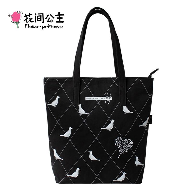 ФОТО Flower Princess Brand 2017 Women Canvas Fashion Shoulder Tote Bags Lady City Girl Black School Handbag Travel Boho Bags DS003