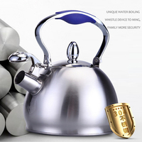 2.5L Stainless Steel Whistling Tea Kettle Coffee Tea Pot Stovetop Induction 2 Colors Home Decoration
