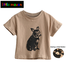 Toddler Girls Short-sleeve T-shirt with Shapi Dog Print Baby Girl Boy Clothes Cotton School Tees for Kids Children Shell on Neck