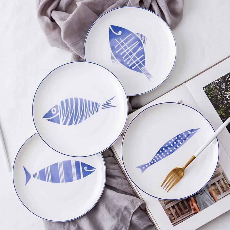 8 Inch Ceramic Dinner Plate White Bone China Dishes Fruit