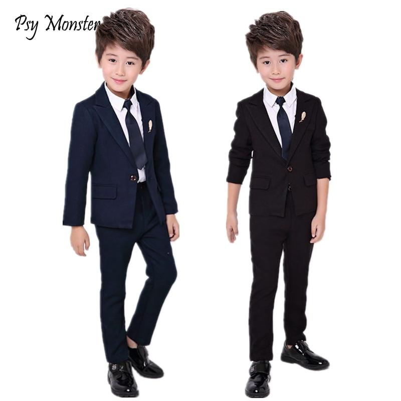 Flower Boys Formal Blazer School Suit Wedding Kids Jackets Shirt Pants Clothing Set Children Prom Costume Dress Groom Suits B049