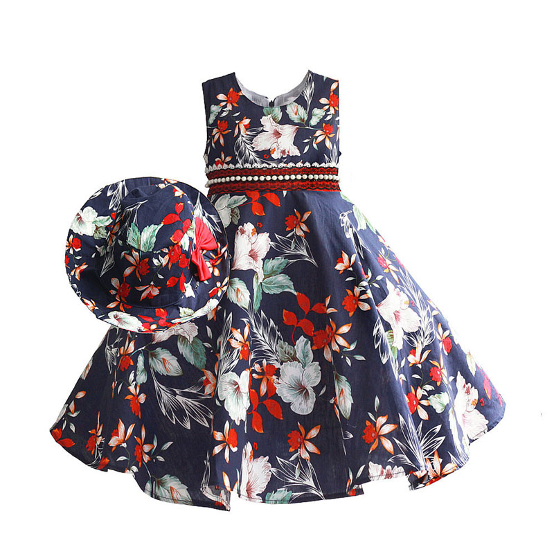 Girls Dress with Cap Floral Print Sleeveless Dark Blue Lace Belt Summer Princess Wedding Party Dresses Kids Clothing Size 3-8T summer kids girls baby o neck sleeveless dress 3 8t children flower floral appliques letter clothing toddler princess clothes