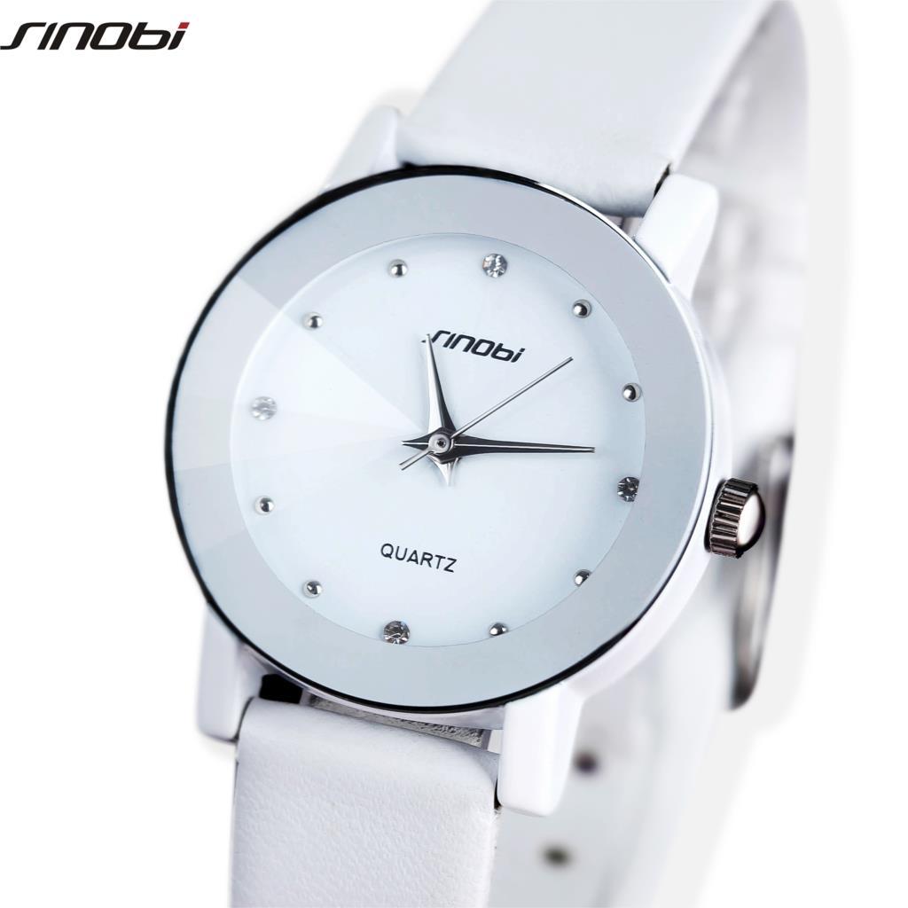 Original SINOBI Lover's Watch Sharp Faux Leather Strap Japan Quartz Wrist Watch XMAS Gift for Women faux leather quartz wrist watch