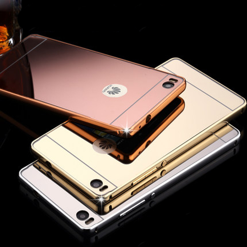 new concept bd10b 7d452 US $4.29 |Luxury Mirror Back Cover Case For Huawei P8 Aluminum Frame Hard  PC Plating Mobile Phone Bag Shell For Huawei P8 P8 Lite Cases on ...