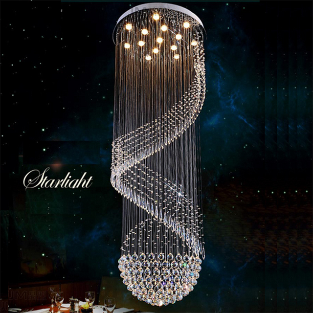 Spiral crystal chandelier light fixture long crystal stair lamp spiral crystal chandelier light fixture long crystal stair lamp flush mounted stair light fitting for staircase aloadofball Images
