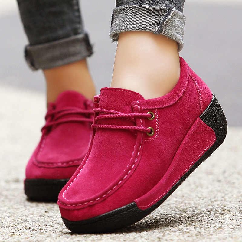 SWYIVY slimming chunky รองเท้ารองเท้าผ้าใบ femme ฤดูใบไม้ผลิผู้หญิงรองเท้าหนังแท้รองเท้าผ้าใบผู้หญิง 2019 หญิงหอยทากรองเท้า 41