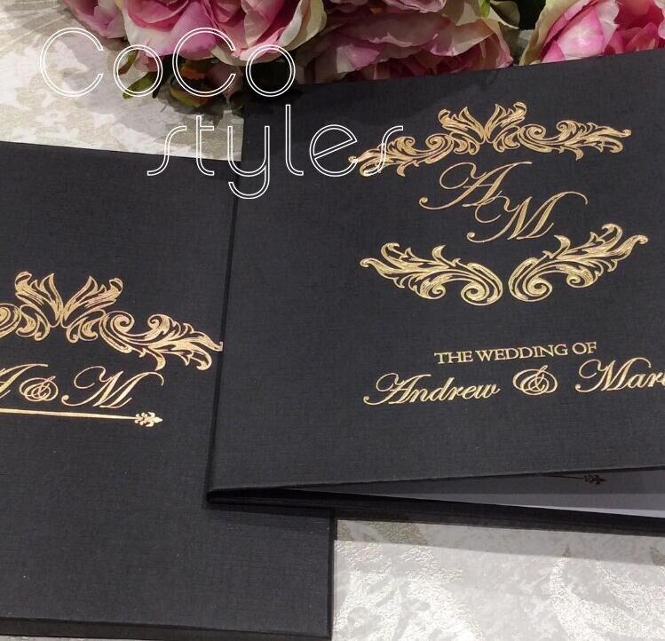 Wedding Invitations High End: Cocostyles Bespoke High End Black Hardcover Invitation