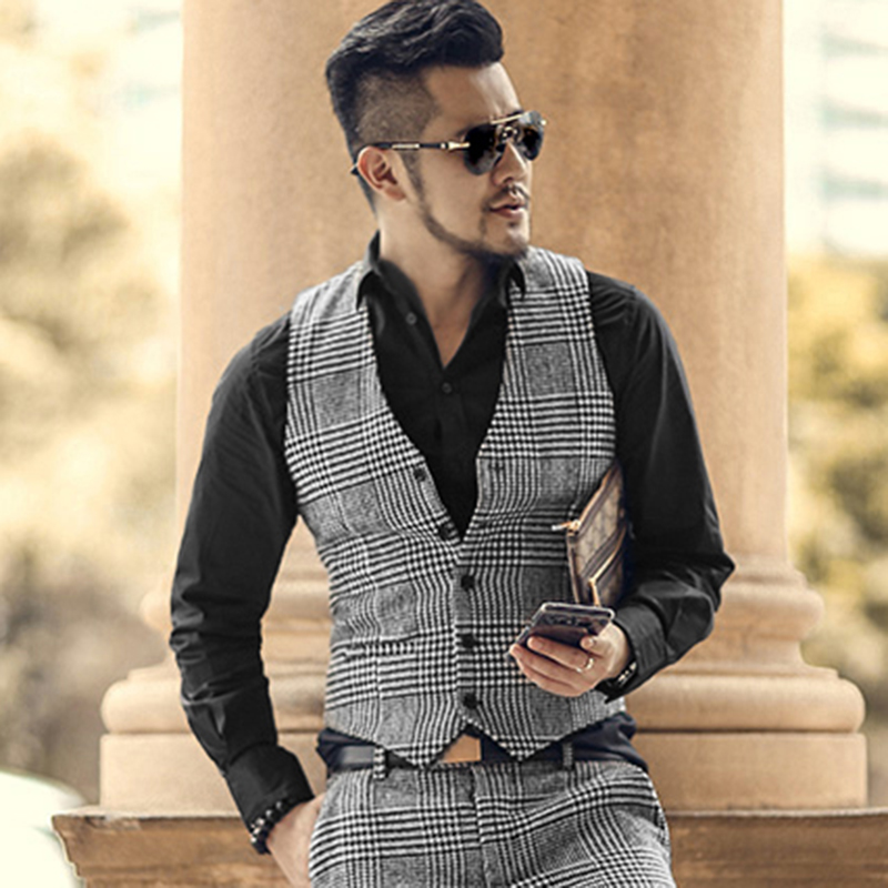 Mens Suit Vest Slim Fit V Neck Houndstooth Brown Grey Single-breasted Waistcoat Casual Formal Business Groomman For Wedding Vest
