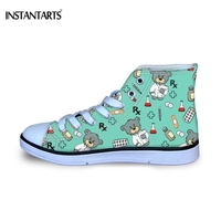 INSTANTARTS Funny Cartoon Nurse Bear Pattern Girls Boys Casual Shoes Children High Top Canvas Shoes Kids Green Lace Up Sneakers