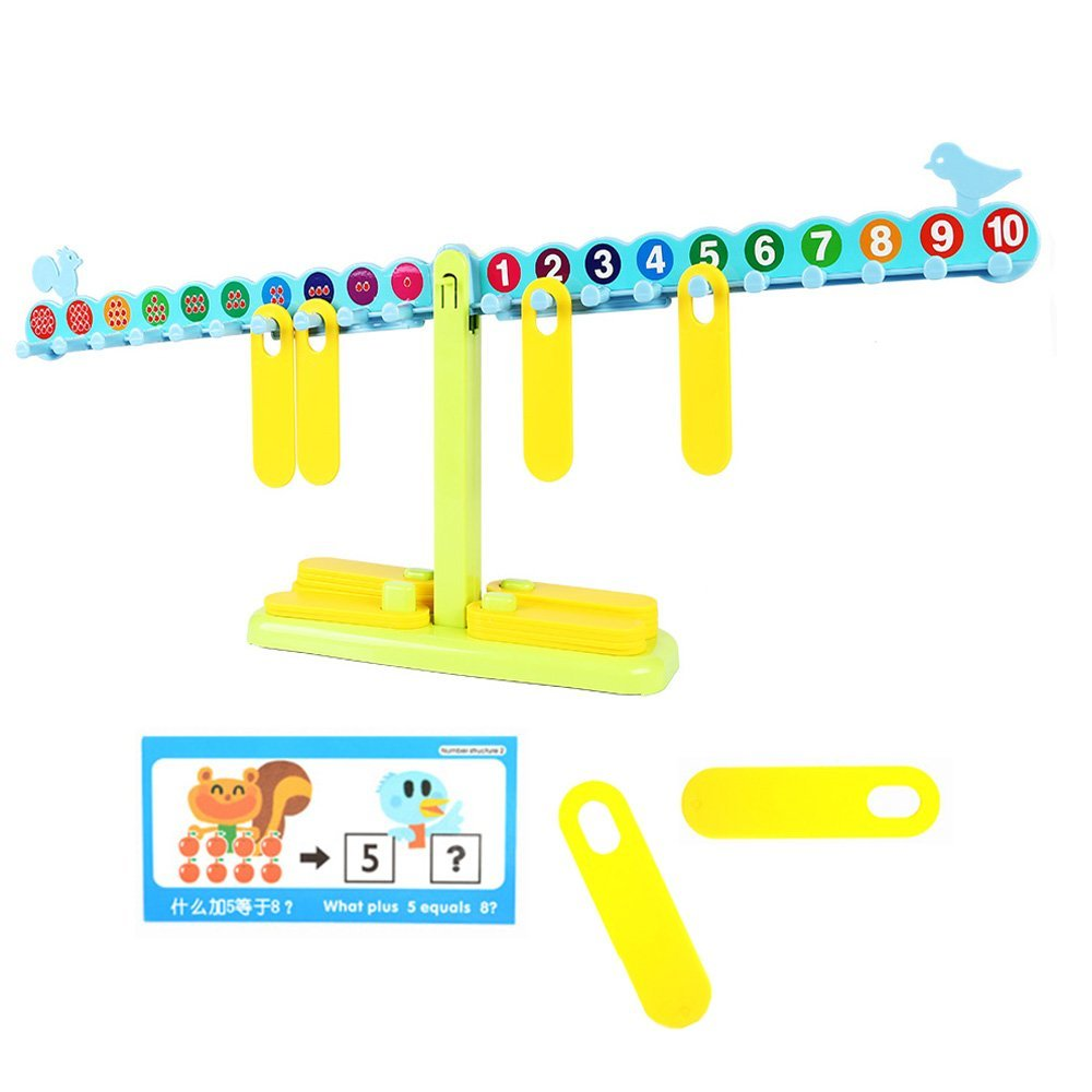 EBOYU(TM) T Shaped Math Number Balance Scale, 20 10G Weights, with Learning Book, Learning Cards, Test Paper