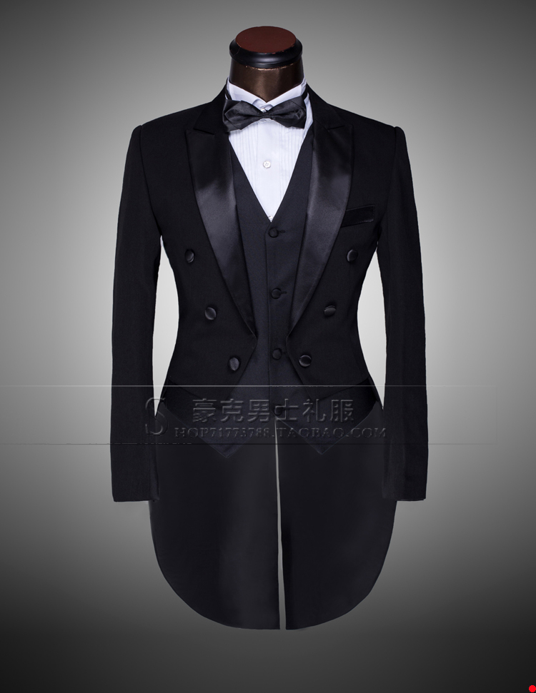 mens tuxedo suits( jacket+ pants)Black And White Groom wedding ...